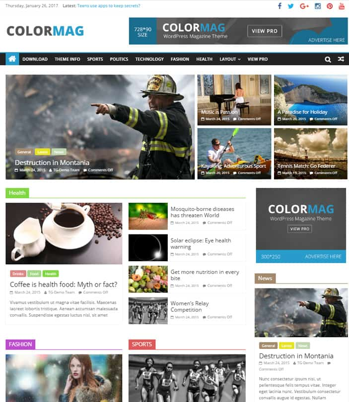 Best Free News WordPress Themes 2020 - Color Mag