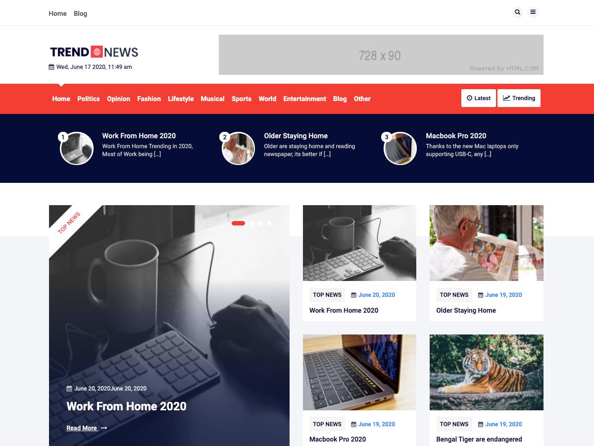 Best Free News WordPress Themes 2020 - Trend News
